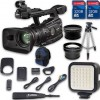 Canon XF300 HD Professional Camcorder + Wideangle Lens + Telephoto Lens + Lens Hood + 2 PC 32 GB Memory Cards + Tripod + LED Light + Backpack Case