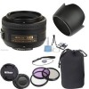 Nikon AF-S DX Nikkor 35mm f/1.8G Lens with 3 Piece Filter Kit |Lens Pouch |Lens Hood & More