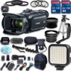 Canon XA30 HD Professional Camcorder + Wideangle Lens + Telephoto Lens + Lens Hood + 2 PC 64 GB Memory Cards + Tripod + LED Light + 3 PC Filter Kit