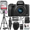 Canon EOS M50 Mirrorless Digital Camera with 15-45mm Lens (Black) and 64GB SD Card + Deluxe Photo Travel Bundle