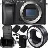 Sony Alpha A6300 Mirrorless Digital Camera (Body) with Sigma MC-11 Mount Converter/Lens Adapter (Sigma EF-Mount Lenses to Sony E) 8pc Accessory Kit