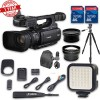 Canon XF100 HD Professional | Wideangle Lens | Telephoto Lens   Lens Hood   2 PC 32 GB Memory Cards   Tripod   LED Light   Backpack Case