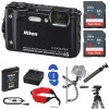 Nikon COOLPIX W300 Digital Camera (Black) with 2x 16GB Memory Cards   Floating Strap Starter Kit