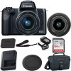 Canon EOS M50 Mirrorless Digital Camera with 15-45mm Lens (Black) with 64GB Starter Kit