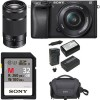 Sony Alpha a6300 Mirrorless w/ 16-50mm Lens & Sony E 55-210mm   Sony 32GB Memory Card Starter Kit