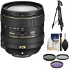 "Nikon AF-S DX 16-80mm f/2.8-4E ED VR with 3 Filters | 60"" Tripod Kit 
