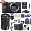 Sony Alpha a6500 24.2MP Wi-Fi Mirrorless Camera w/ 55-210mm Zoom Lens (Black) Deluxe Kit
