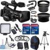 Canon XF300 High Definition Professional Camcorder with 2pc 32GB High Speed Memory Cards + Wideangle & Telephoto Lenses + Accessory Bundle