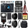 Canon EOS M100 Mirrorless Digital Camera with 15-45mm Lens| Flash | UV FLD CPL Filter Kit | Wide Angle & Telephoto Lens | Camera Case
