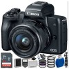 Canon EOS M50 Mirrorless Digital Camera with 15-45mm Lens (Black) Essential Package