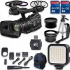 Canon XF300 HD Professional Camcorder + Wideangle Lens + Telephoto Lens + Lens Hood + 2 PC 64 GB Memory Cards + Tripod + LED Light + 3 PC Filter Kit
