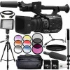 Panasonic AG-UX90 4K/HD Professional Camcorder with Audio-Technica AT875R Line and Gradient Condenser Microphone 14pc Accessory Bundle - Includes 2x