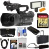 JVC GY-HM250 UHD 4K Streaming Camcorder with Built-in Lower-Thirds Graphics W/  XLR Microphone 64GB Card Hard Case LED Light Kit
