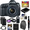 Canon Eos 5D Mark IV 4K Wi-Fi Digital SLR Camera & EF 24-105mm f/4L Is II USM Lens w/ 64GB Card+Battery & Charger+Backpack + 3 Filters + Kit