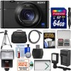 Sony Cyber-Shot DSC-RX100 V 4K Wi-Fi Digital Camera with 64GB Card + Case + Flash + Video Light + Battery & Charger + Tripod + Kit