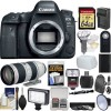 Canon Eos 6D Mark II Wi-Fi Digital SLR Camera Body with EF 70-200mm f/2.8 L Is II Lens + 64GB Card + Backpack + Flash + Battery & Charger Kit