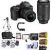 Nikon D3500 24MP DSLR Camera with NIKKOR 18-55mm and 70-300mm Lens W/Pro Acc Kit USA Model