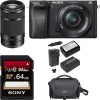 Sony Alpha a6300 Mirrorless Digital Camera w/ 16-50mm & E 55-210mm Lens & Kit
