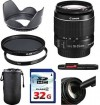 Canon EF-S 18-55mm f/3.5-5.6 Is II Lens Bundle + UV Filter + Polarizer Filter + 2 in 1 Lens Cleaning Pen + High Speed 32GB Memory Card + Tulip Hoo
