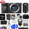 Sony Alpha A6300 4K Wi-Fi Digital Camera Body with 55-210mm Lens | 128GB Card | Case | Flash | Diffuser | Battery/Charger | Filters | Kit
