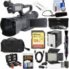 JVC GY-HM200U/250 Ultra 4K HD 4KCAM Professional Camcorder & Top Handle Audio Unit with XLR Microphone 128GB Card Battery Case LED Video Light Kit