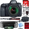 Canon Eos 6D Mark II 26.2MP DSLR Camera w/ Lens + Pro100 Mail in Printer Bundle